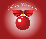 Red Christmas ball and bow. Vector illustration Royalty Free Stock Photography