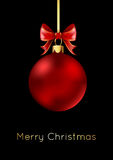 Red Christmas ball with a bow,  on black background. Vector illustration Stock Image