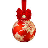 Red Christmas ball with bow. EPS 10 Royalty Free Stock Image