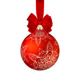 Red Christmas ball with bow. EPS 10 Stock Images
