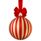 Red Christmas ball with bow. EPS 10 Stock Photos