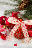 Red christmas ball with bow Stock Photography