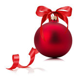 Red Christmas ball with bow isolated on the white background Royalty Free Stock Images
