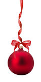 Red Christmas ball with bow isolated on the white background Stock Photos