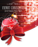 Red Christmas ball with bow and ribbon Royalty Free Stock Photography
