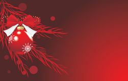 Red Christmas ball with bow and tinsel. Festive background. Illustration Royalty Free Stock Photography