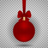 Red Christmas ball with a bow  on a transparent background. Vector illustration. Element of design Royalty Free Stock Photo
