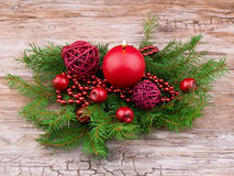 Red christmas ball and candle Royalty Free Stock Photography