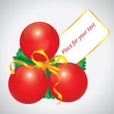 Red Christmas ball card Stock Image