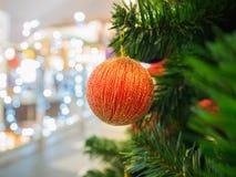 Red Christmas ball on Christmas tree Royalty Free Stock Images