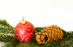 Red christmas ball and cone Royalty Free Stock Image