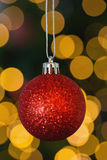 Red christmas ball decoration hanging Royalty Free Stock Images