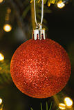Red christmas ball decoration hanging Stock Photo