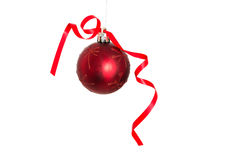 Red christmas ball decoration hanging Royalty Free Stock Image