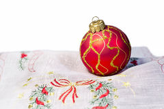 Red Christmas ball embroidered napkin isolated Stock Images