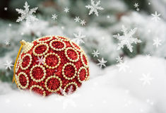 Red christmas ball on fir tree Royalty Free Stock Photography