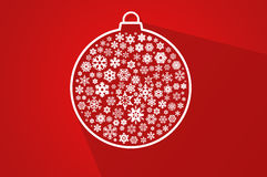 Red christmas ball - flat background Royalty Free Stock Photo