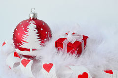 Red Christmas ball and gift stock photos
