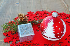 Red Christmas ball and gift royalty free stock photos