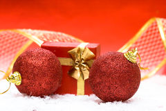 Red Christmas ball and giftbox Royalty Free Stock Images