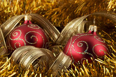 Red christmas ball and gold foil Stock Photo