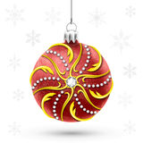 Red christmas ball in a gold frame Stock Photo