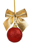 Red Christmas ball with golden bow Royalty Free Stock Photo