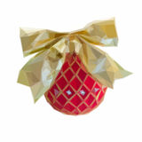 Red Christmas ball with golden bow. Low poly illustration Red Christmas ball with golden bow isolated on white background Stock Photo