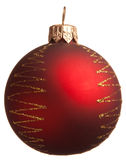 Red Christmas ball with golden zigzag Stock Photography