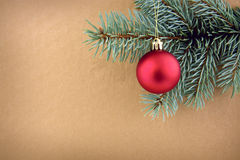 Red Christmas ball on green spruce branch isolated . Stock Photos