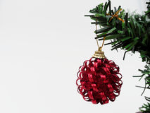 Red Christmas ball hanged on green christmas pine tree branch  on white background. Red Christmas ball with gold ribbon hanged on green christmas pine tree Stock Photography