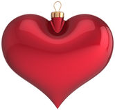 Red Christmas ball heart shaped blank decoration Royalty Free Stock Photography