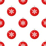 Red Christmas Ball Icon Seamless Pattern Royalty Free Stock Image