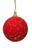 Red christmas ball isolated. Red christmas ball with gold ornaments isolated with clipping path stock photo