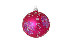 Red christmas ball isolated. On white Royalty Free Stock Photos