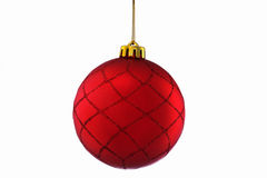 Red Christmas Ball isolated over white royalty free stock photos