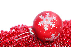 Red christmas ball isolated on white background Stock Image