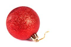 Red christmas ball. Isolated on white background Stock Photos