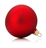 Red Christmas ball isolated on the white background stock images