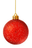 Red christmas ball isolated on white Royalty Free Stock Photos