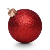 Red christmas ball isolated on white background Royalty Free Stock Images