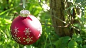 Red christmas ball stock video