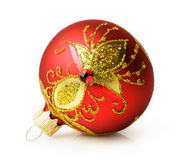 Red Christmas ball with ornament Stock Photos