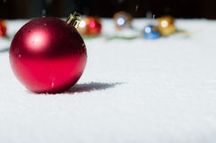Red Christmas ball with ornaments Stock Photography