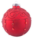 Red Christmas ball. With ornaments isolated Royalty Free Stock Photos