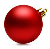 Red christmas ball over white, clipping path Royalty Free Stock Photography