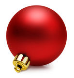 Red christmas ball over white with path Stock Images
