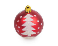 Red Christmas ball with painted Christmas tree Royalty Free Stock Photography