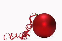 Red Christmas ball with red ribbon Royalty Free Stock Photos