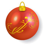 Red Christmas ball reflecting light New Year lights. Vector illustration Royalty Free Stock Image